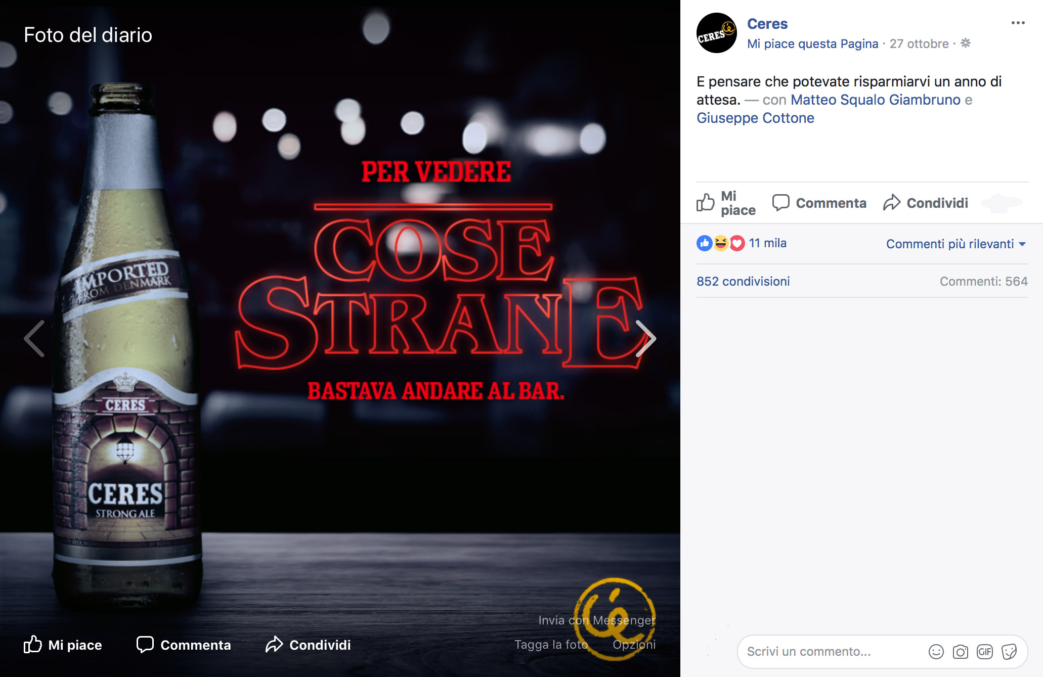 social network - Post della Ceres in occasione del lancio di Stranger Things 2